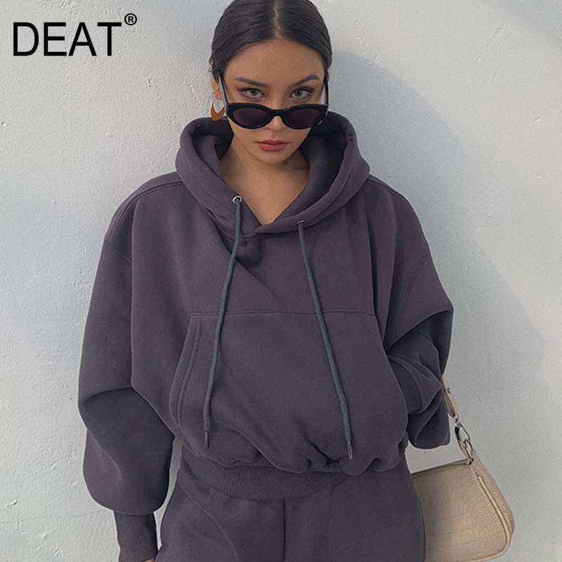 DEAT 2020 NEW SPRING Fashion Women Clothes Hooded Drawstring Pullover Lantern Sleeves Pullover Sweatshirt Female Top WK0370