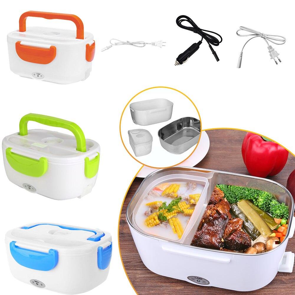 2 in 1 araba ve ev elektrikli ısıtmalı yemek kabı taşınabilir 12V 110V 220V Bento kutuları gıda ısıtıcı pirinç konteyner abd Plug/ab tak
