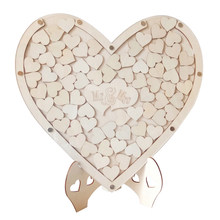 Ornaments With Stand Heart Shape Craft Signature Frame Home Party Wedding Wooden Guest Book DIY Decoration Sweet(China)