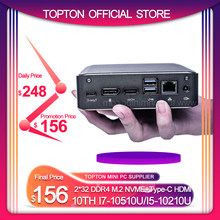 Topton popularny Super Mini PC 10TH i7 10510U i5 10210 2 * DDR4 NVME M.2 kieszonkowy komputer stacjonarny Window10 Pro typ c 4K HDMI 2.0 DP(China)