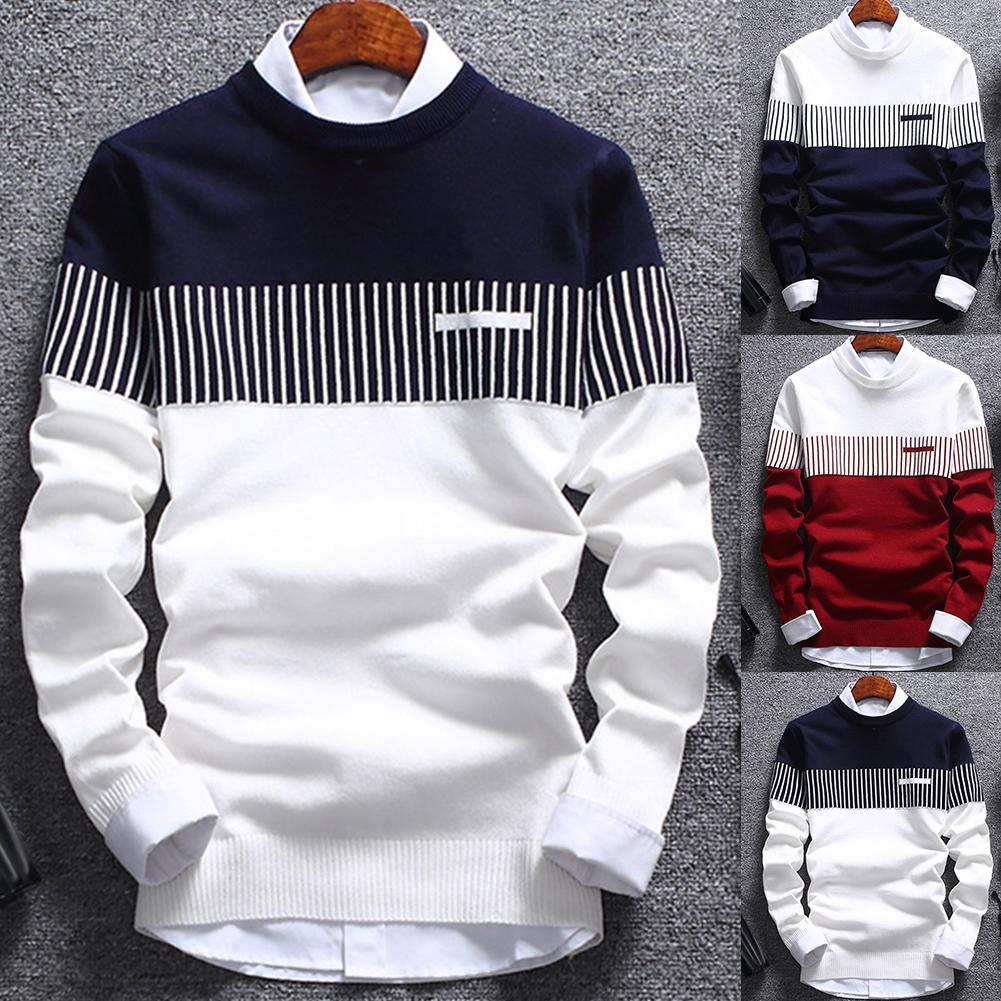 1pc  Fashion Men Color Block Patchwork O Neck Long Sleeve Knitted Sweater Top Blouse Polyester Spandex Casual Warm Men's Sweater