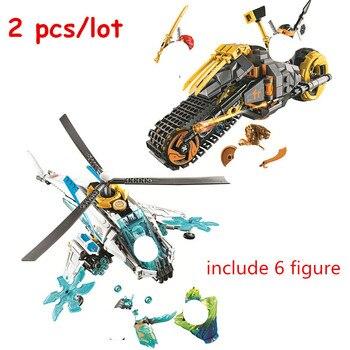 2 uds Ninjagoed Coles Dirt Bike + ShuriCopter Kit de bloques de construcción ladrillos película clásica modelo de Ninja juguetes para niños regalo
