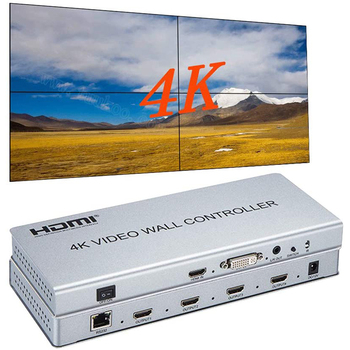2x2 Video wall controller 1 HDMI/DVI Input 4 HDMI Output 4K TV Processor Images Stitching Video Wall Processor eszym 4 channel tv video wall controller 2x2 1x3 1x2 hdmi dvi vga usb video processor