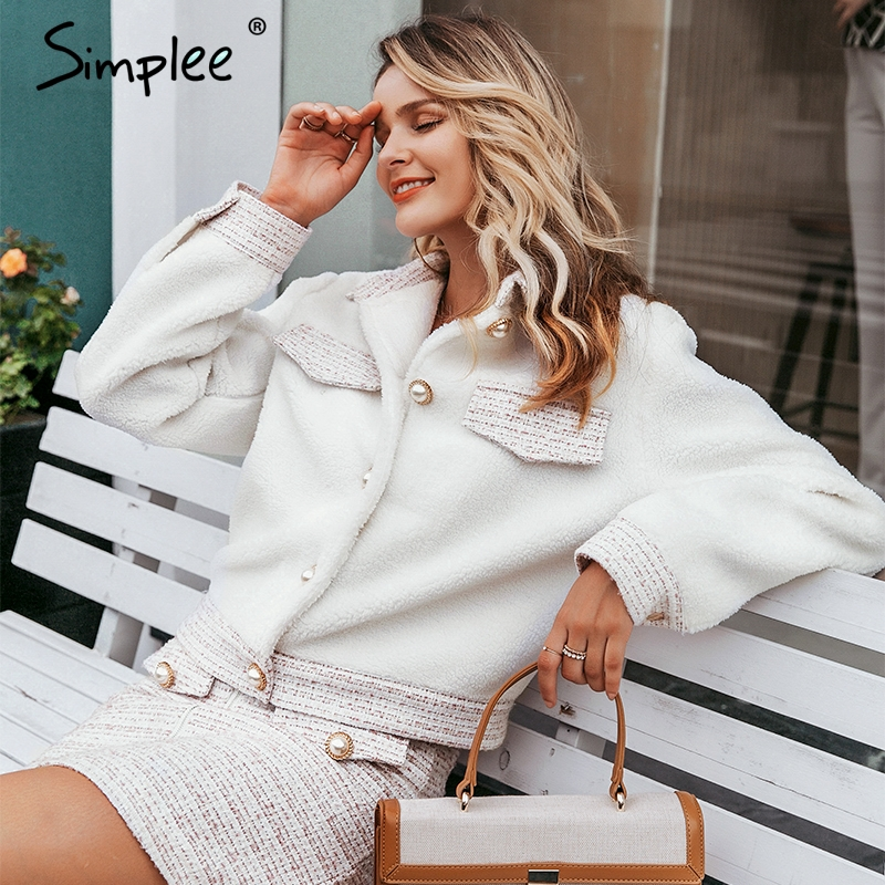 Simplee Chic Pearl Buttons Faux Fur Coat Women Patchwork Tweed Pockets Autumn Winter Warm Coats Sweet Ladies Short White Jackets