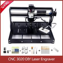 Cnc 3020 máquina de gravura 3 eixos com controlador offline diy cnc gravador a laser madeira roteador pcb fresadora