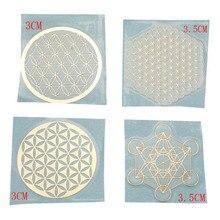 4 шт./компл. новый металлический энергетический Декор стикер цветок жизни