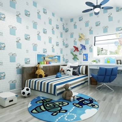 Cute Cartoon Children Boys And Girls Room Wallpaper Snoopy Brick Foaming Environmentally Friendly Non-woven Wallpaper Wholesale