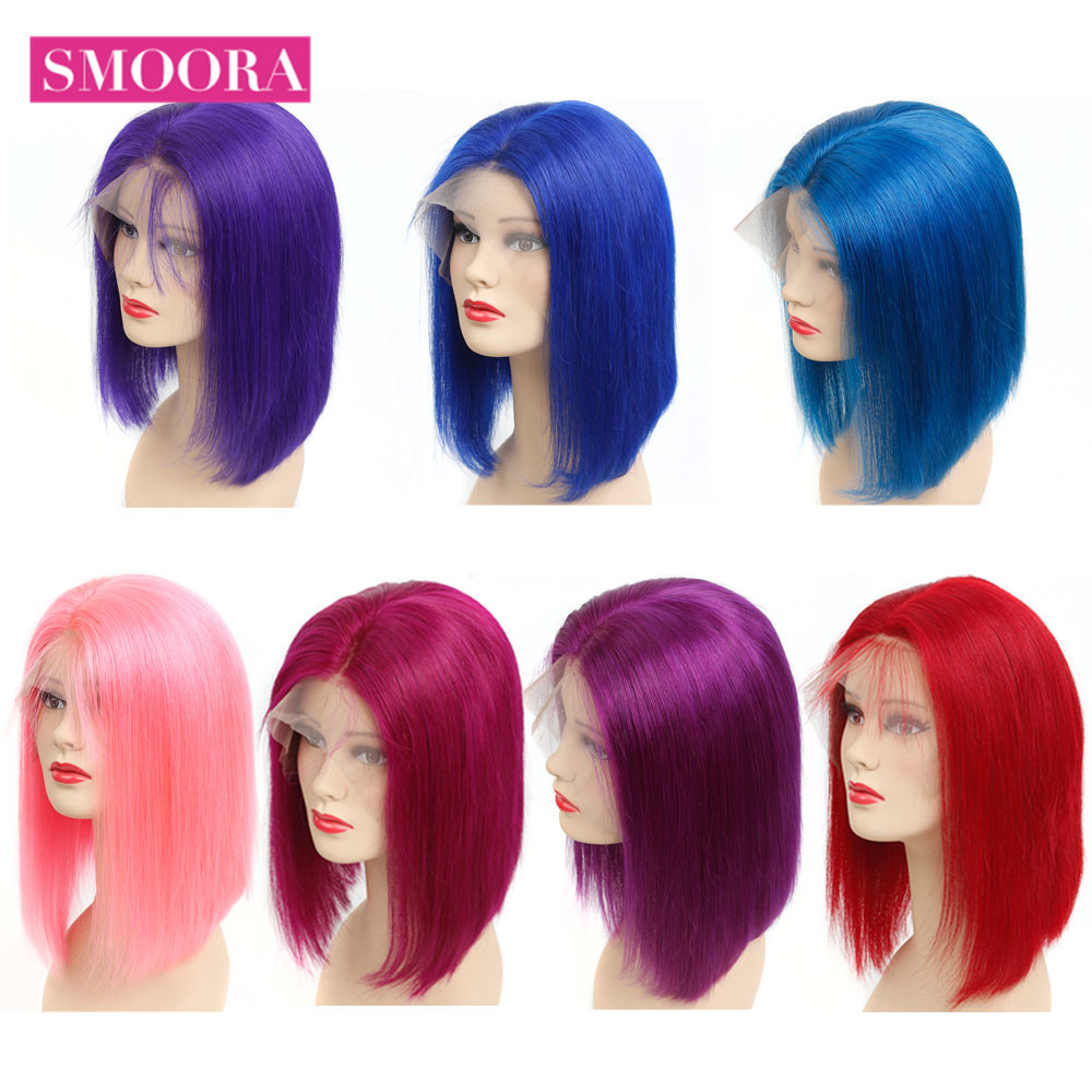 Glueless Full Lace Human Hair Wigs Brazilian Straight Hair Red Pink Blue Purple Color Lace Wigs For Women Remy Hair 150% Density