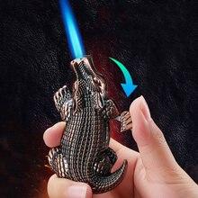 Забавная металлическая газовая зажигалка «крокодил» струйфонарь