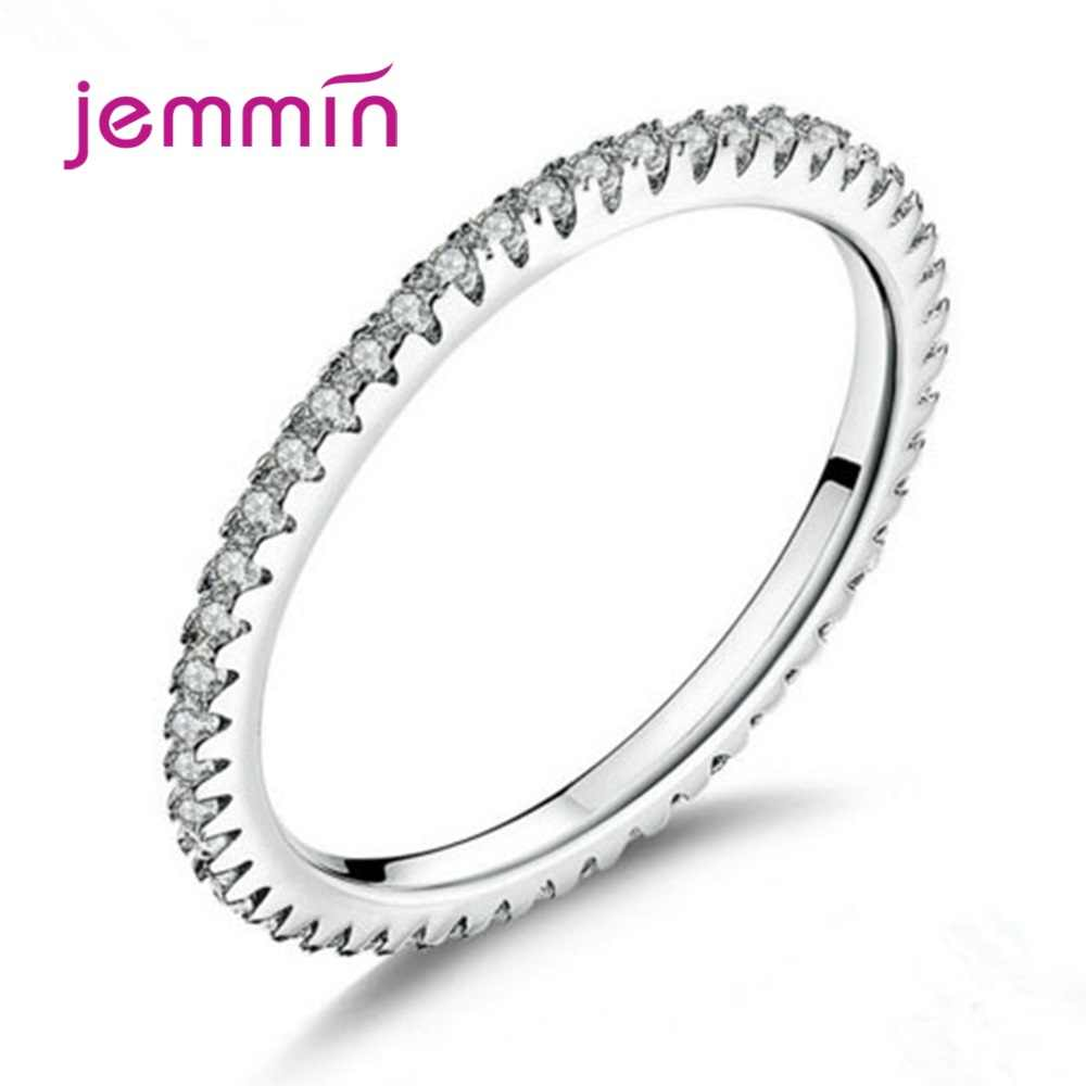 Envío Gratis anillos de novia de estilo coreano para mujeres de Plata de Ley 925 genuino con cristal AAAAA CZ al por mayor