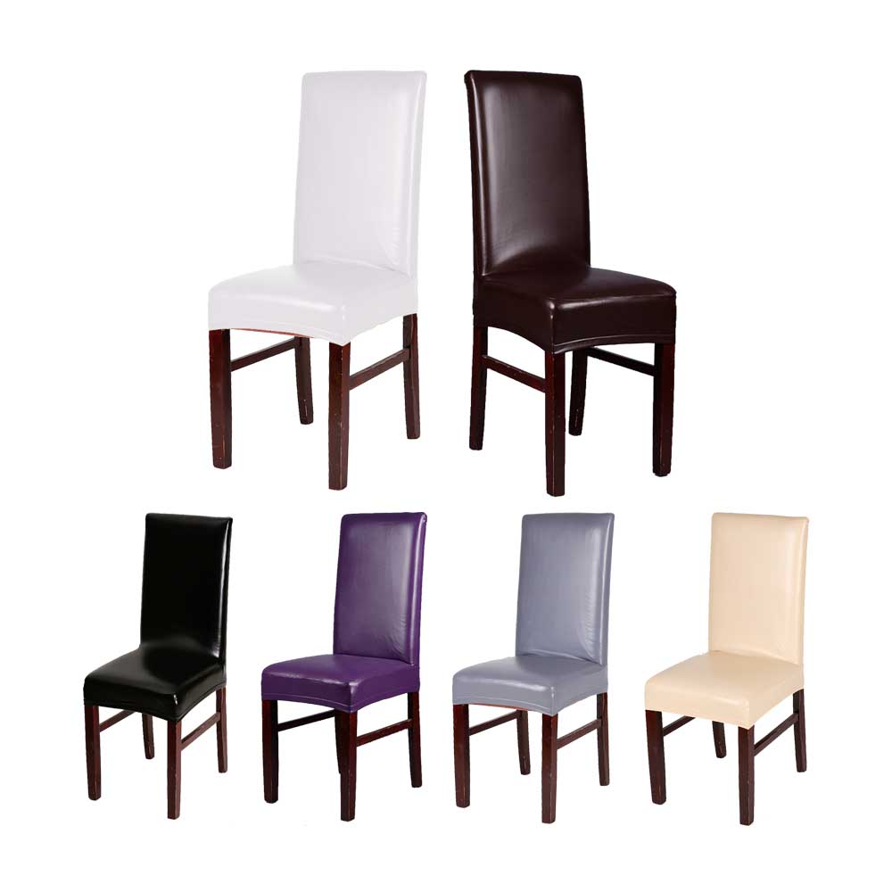 Hot 4 Packs Waterproof Oilproof PU Leather Household Dinner Chair Seat Cover Elastic Black Coffee Purple Champagne 7 Colors 1