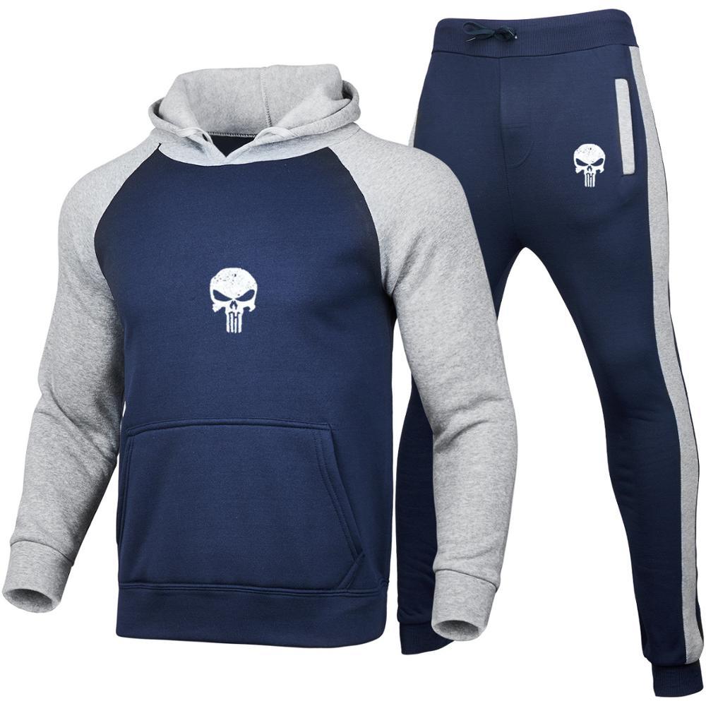 2 stück Sets Trainingsanzug Männer Mit Kapuze Sweatshirt + hosen Pullover patchwork Hoodie Sportwear Anzug Gedruckt schädel Hombre Casual Kleidung