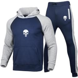 2 Pieces Sets Tracksuit Men Hooded Sweatshirt+pants Pullover patchwork Hoodie Sportwear Suit Printed skull Hombre Casual Clothes
