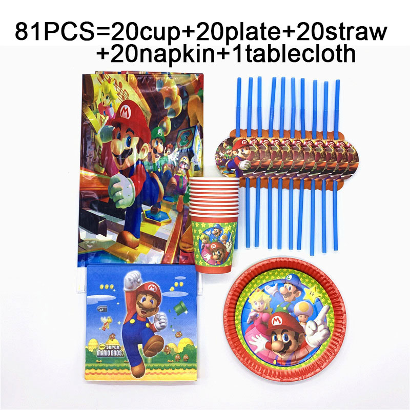 Детская Вечеринка Супер Братья Марио одноразовые скатерти чашки тарелки и соломки салфетки Братья Марио день рождения набор посуда принадлежности