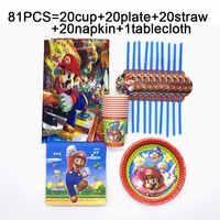 81 teile/satz Super Mario Bros einweg tischdecken tassen platten servietten strohhalme Mario Bros geburtstag party set geschirr liefert