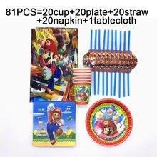 Kids Party Super Mario Bros jednorazowe obrusy kubki talerze słomki serwetki Mario Bros urodziny zestaw imprezowy zastawa stołowa