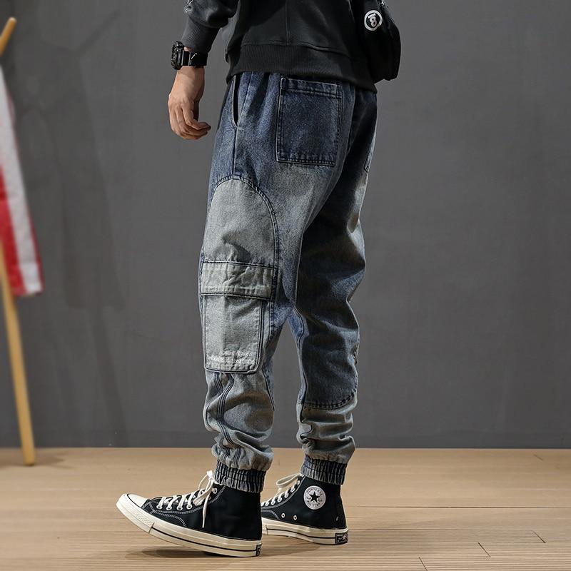 Japanese Style Fashion Men Jeans Spliced Designer Big Pocket Cargo Pants Harem Trousers Top Quality Streetwear Hip Hop Jeans Men