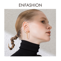 ENFASHION Punk C Shape Chain Stud Earrings For Women Gold Color Minimalist Statement Ear Cuff Earings Fashion Jewelry E191091
