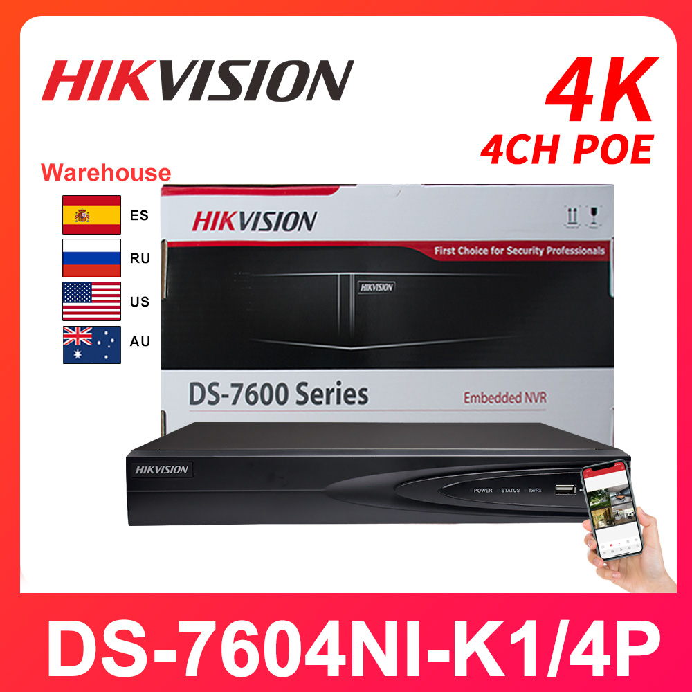 Hikvision 4CH NVR DS-7604NI-K1/4P Network Vedio Recorder PoE 4K H.265 Onvif HDMI Camera Recorder Surveillance Video Recorder P2P