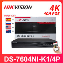 Hikvision 4CH NVR DS-7604NI-K1/4P Network Vedio Recorder PoE 4K H.265 Onvif HDMI Camera Recorder Surveillance Video Recorder P2P