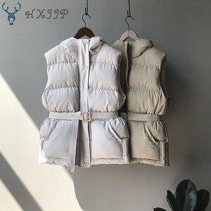 Image 2 - Hxjjp colete feminino jaqueta de inverno bolso com capuz casaco quente casual algodão acolchoado colete feminino fino sem mangas cinto em estoque