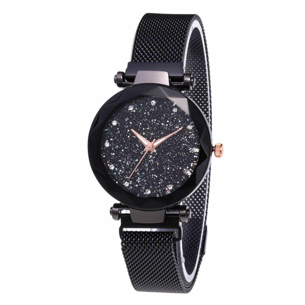 Reloj mujer אופנה נשים שעון כוכבים שמיים שעון גבירותיי מגנט אבן מילאנו רשת חגורת נשים של שעון ביאן kol saati