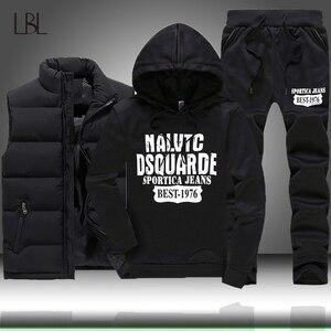 Image 1 - 3 個フード付き冬スーツ男性セット厚く暖かいベストパーカーパンツスーツジッパースポーツウェアセットメンズジョガーパーカースポーツスーツ
