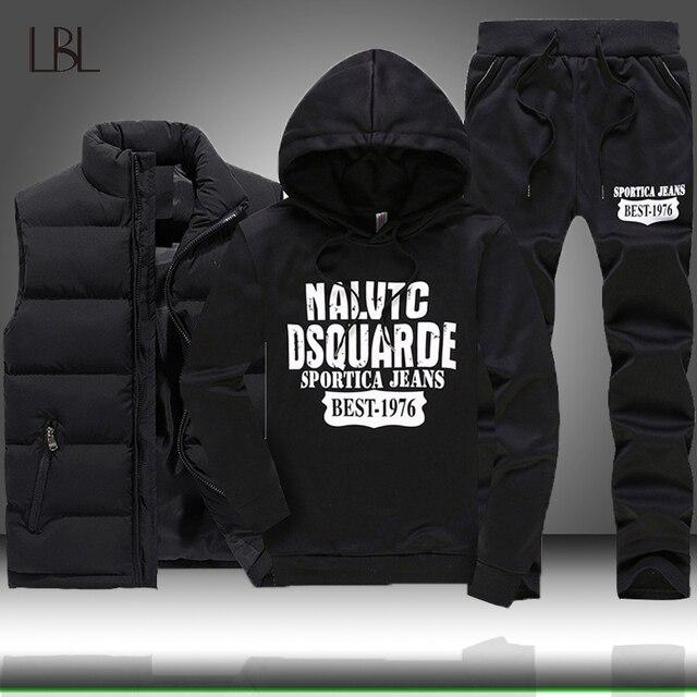 3 個フード付き冬スーツ男性セット厚く暖かいベストパーカーパンツスーツジッパースポーツウェアセットメンズジョガーパーカースポーツスーツ