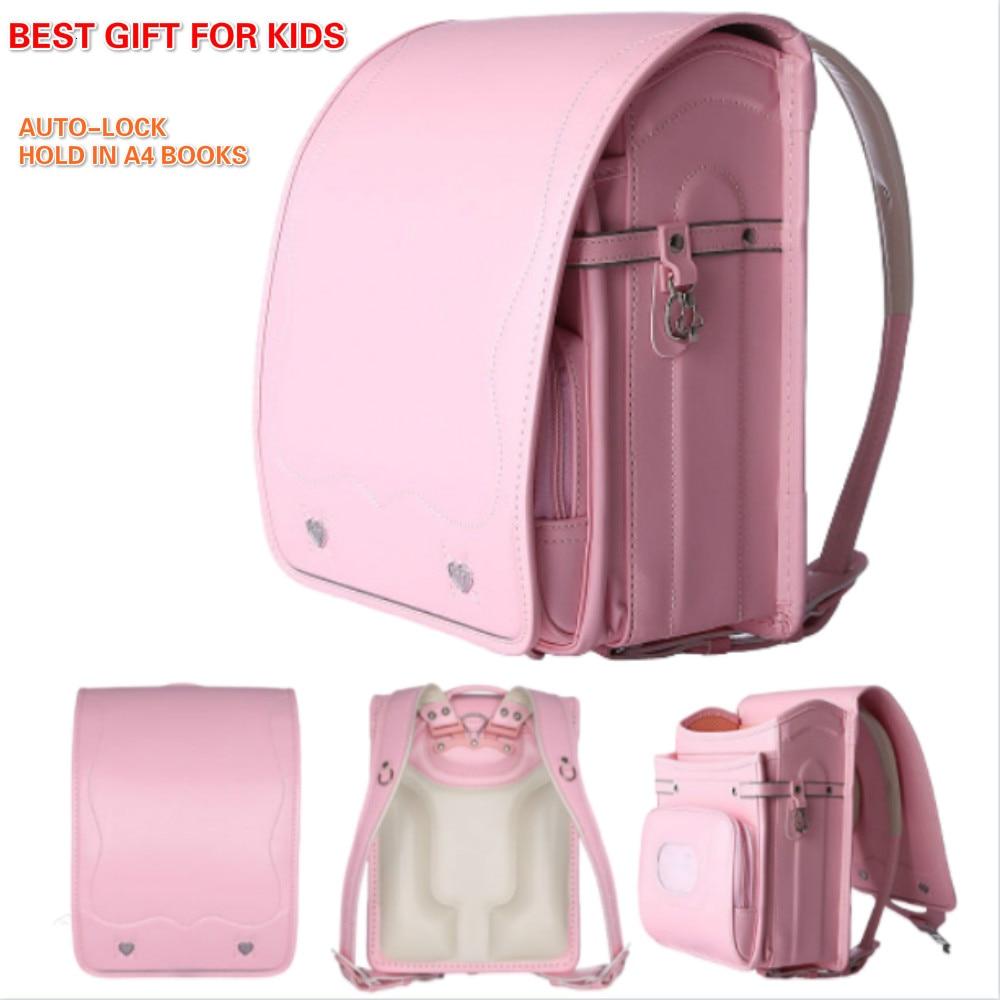 Japanese School Bag For Girls With Auto-lock Children Large School Bags Fashion Randoseru Bag For Primary Kids Sac A Dos Enfant