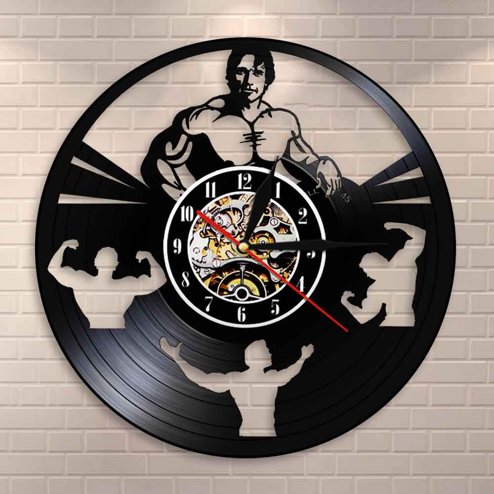 BODYBUILDING CLOCK Personalized Handmade Vinyl Record Clock Bodybuilder Room Decorative Bodybuilder Wall Clock Gym Decor