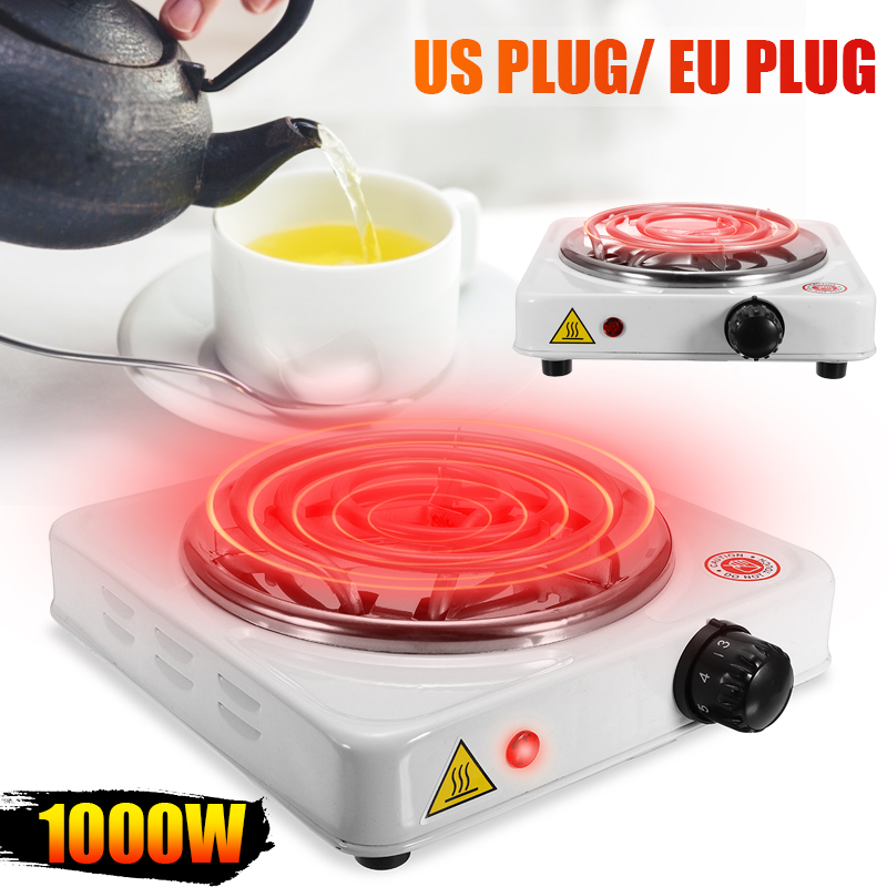 Electric Stove Hot Plate 1000W Iron Burner Portable Kitchen Cooker Coffee Heater Milk Soup Coffee Durable Asjustable