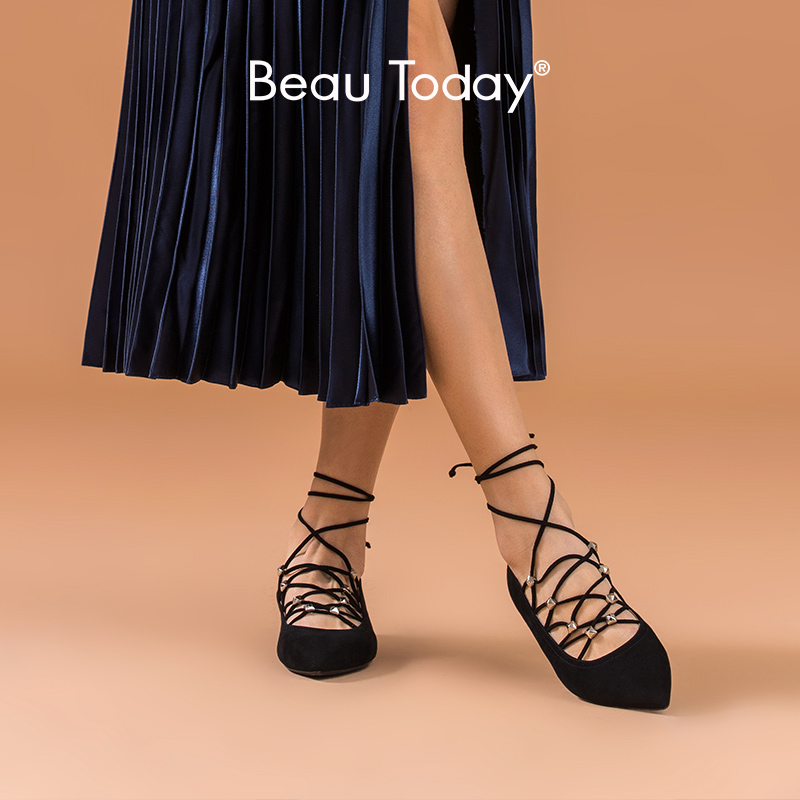 BeauToday Mary Jane Shoes Women Genuine Kid Suede Leather Pointed Toe Cross-Tied Spring Female Ballet Flats Handmade 18211