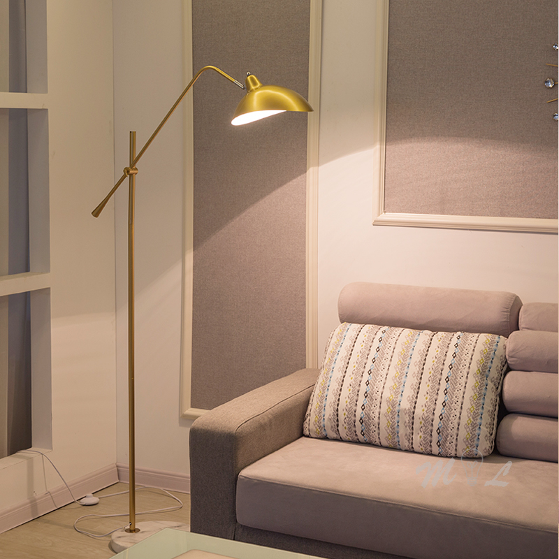 Nordic Gold Simple Floor Lamp Marble Base Standing Lamp Adjustable Length Floor Light Foyer Living Room Lamp Stand E27 Fixtures