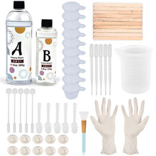 2:1 Clear AB Epoxy Resin Glue Kit Set Measuring Cup Dropper Wooden Stick Gloves Tools For DIY Silicone Mold Resin Jewelry Making