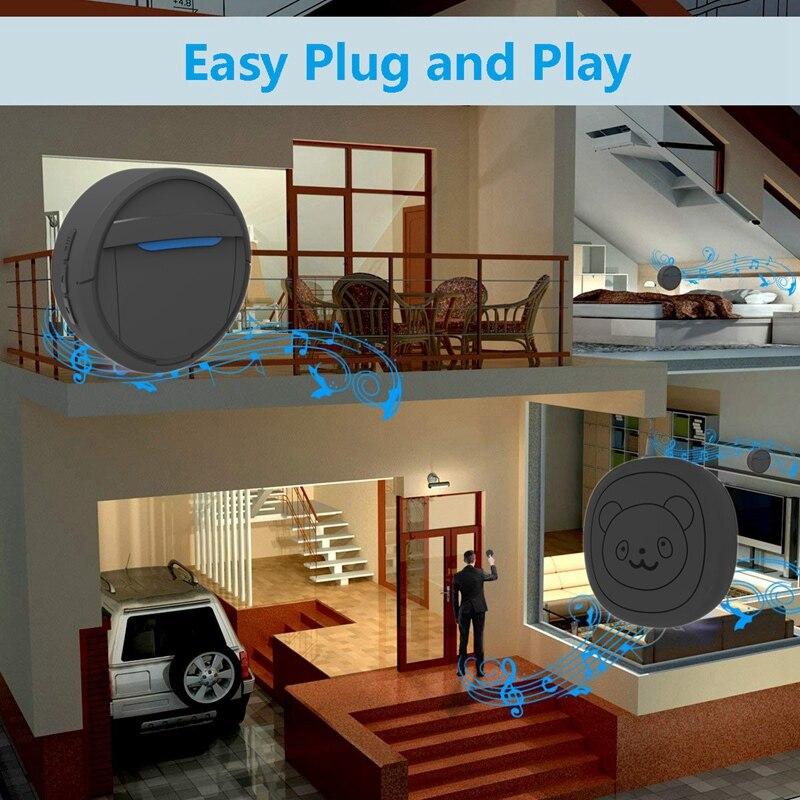 Pet Dog Doorbells Wireless Door Bell House-Training Multifunction Sensor Motion (Receiver & Transmitters) Training Tool US Plug-5