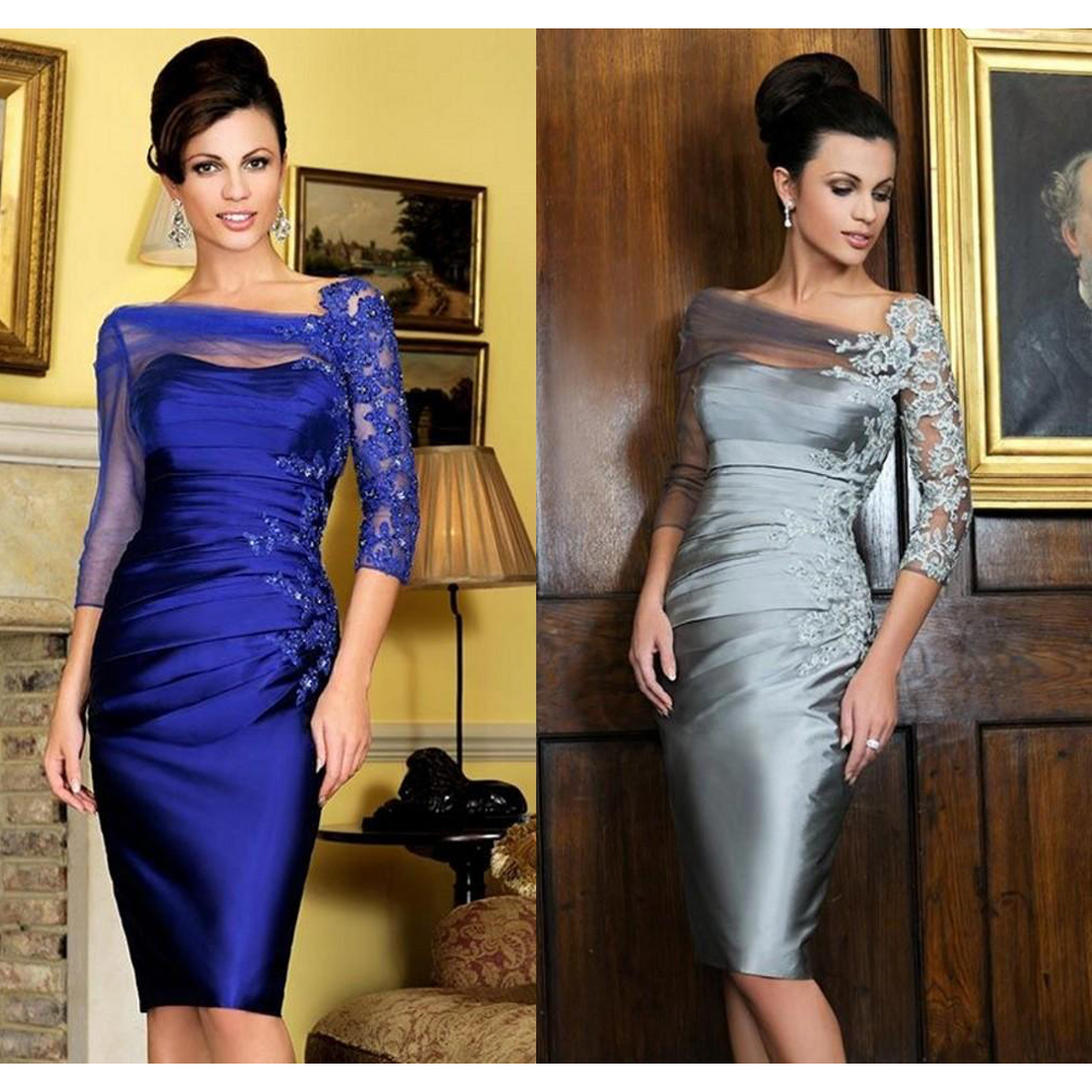 Royal Blue 2020 Mother Of The Bride Dresses Sheath 3/4 Sleeves Lace Beaded Short Wedding Party Dress Knee Length Mother Gowns