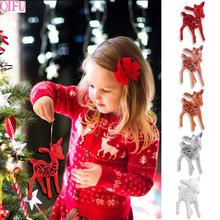 3pcs/lot Glitter Christmas Deer Tree Decorations For Home 2019 Ornaments Noel Happy New Year
