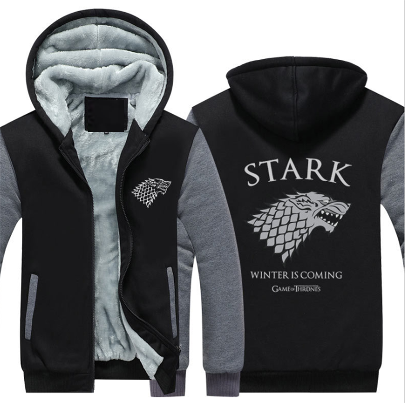 Game Of Thrones Hoodies Men/women Wolf Printed Sweatshirts Warm Men Jackets Casual Zipper Hoodies Winter Thicken Fleece Coats.