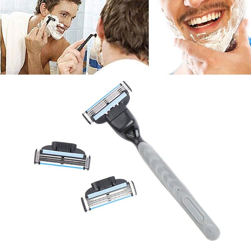 4pcs Razor Blade With 1 Razor Handle Cassette Shaving Blade For Men Face 4-Layer Blades Compatible For Mache 3 Machine 2