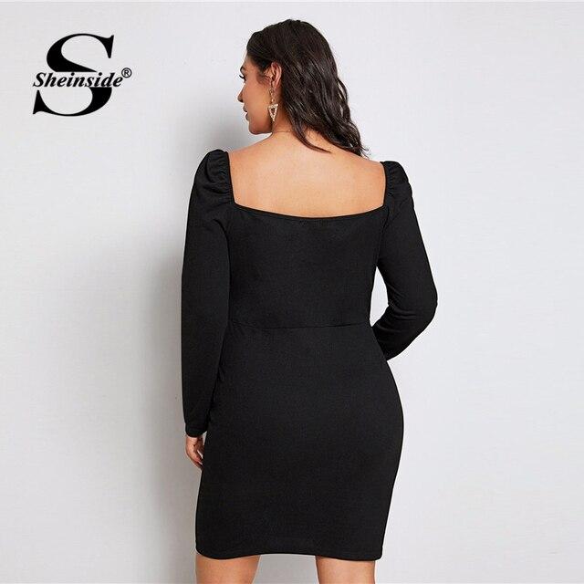 Sheinside Plus Size Black Elegant Sweetheart Neck Pencil Dress Women 2019 Autumn Puff Sleeve Bodycon Dresses Ladies Midi Dress 1