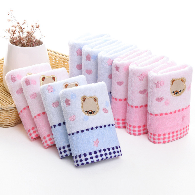 25*50cm baby cartoon bear soft towel high quanlity cotton baby printing washcloth handkerchief kids feeding wipe cloth towel