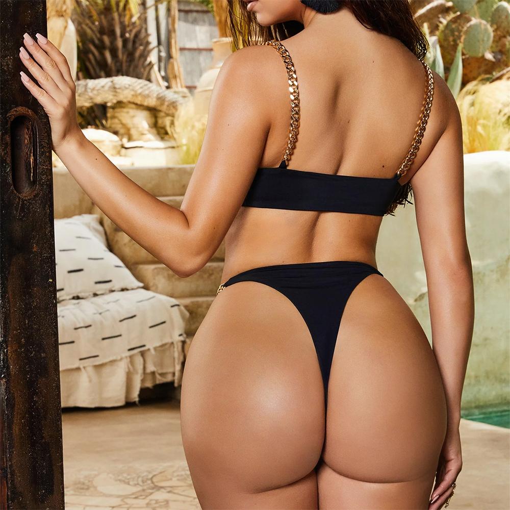 Yisiman, сексуальное бикини с кольцами, набор, железная цепочка, костюм с глубоким v-образным вырезом, белый купальник, женский летний купальник,... 26