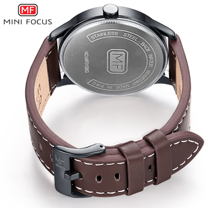 Image 5 - Minifocus Элитный бренд Для мужчин наручные кварцевые наручные часы Для мужчин Водонепроницаемый коричневый кожаный ремешок Мода часы Relógio Masculino