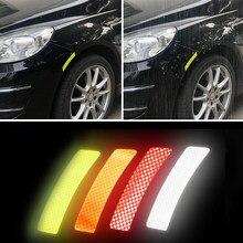 4 Pçs/set Sobrancelha Roda de Carro Etiqueta do Carro Adesivos Refletivos Aviso Tira Decalque Seguro Refletor Adesivos Car Styling Acessórios
