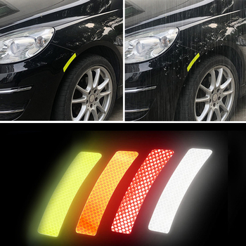 4Pcs/Set Car Reflective Stickers Car Wheel Eyebrow Sticker Warning Decal Strip Secure Reflector Stickers Car Styling Accessories a set 4pcs car styling refit wheel sticker reflective rim car accessories for citroen c3 xr c3 xr car hub stickers yongxun