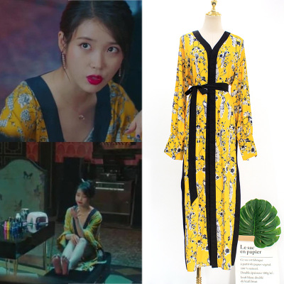 yellow Floral Dress for women lace sweet DEL <font><b>LUNA</b></font> Hotel same IU Lee Ji Eun in autumn woman dresses spring image