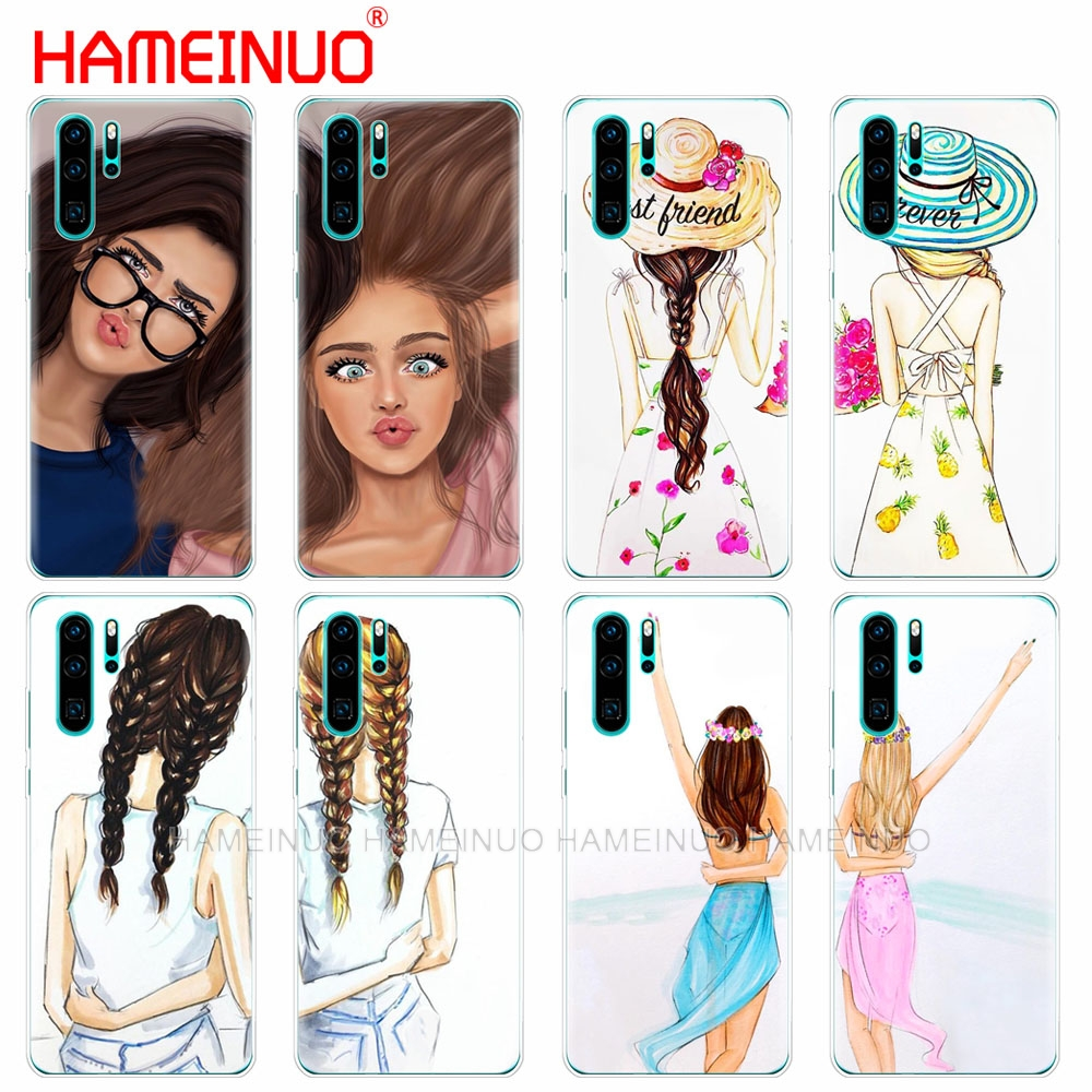 silicon <font><b>phone</b></font> cover <font><b>case</b></font> for huawei P30 PRO LITE P SMART 2019 plus p smart Z p20 lite 2019 Girls Best Friends <font><b>BFF</b></font> Matching image