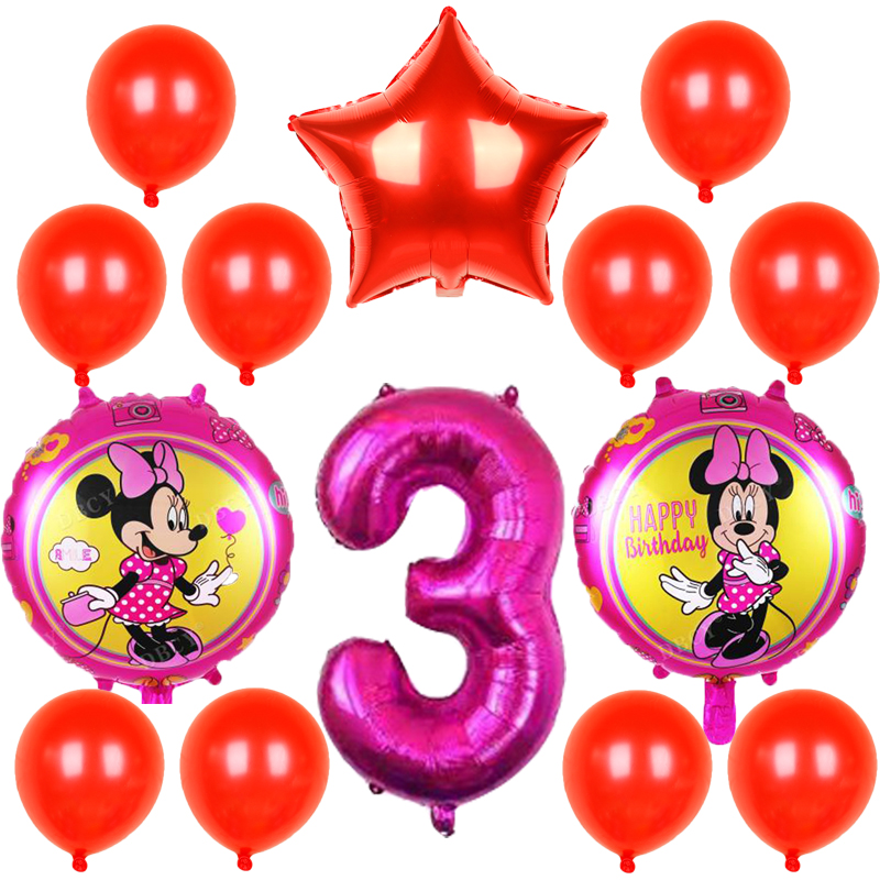 14pcs/lot New Disney Minnie Foil Balloons <font><b>30</b></font> inch Number balloon Happy <font><b>Birthday</b></font> Party <font><b>Decoration</b></font> Kids Toys baby shower Air Globo image