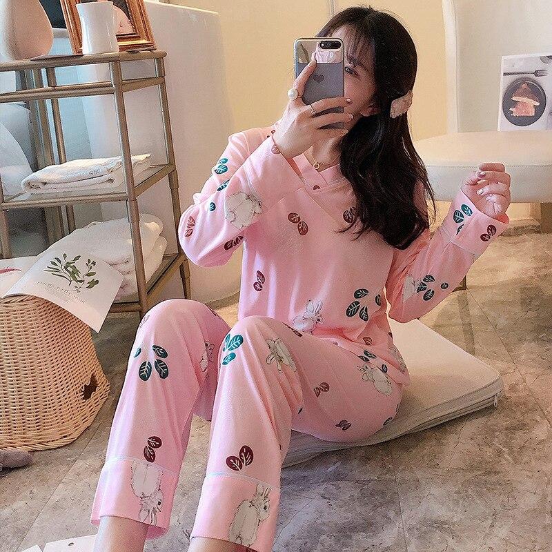 Photo Shoot Spring Pajamas Women's New Style Long Sleeve V-neck Pink Rabbit Set Sweet Fashion-Outer Wear Tracksuit M -Xxl