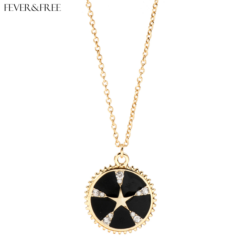Fever&Free Black Enamel Jewelry Tiny Star Necklace New Fashion Transparent Crystal & Pendant Rare Collier Femme
